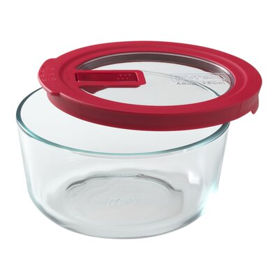 No Leak Lids 4-Cup Round Storage Dish by Pyrex