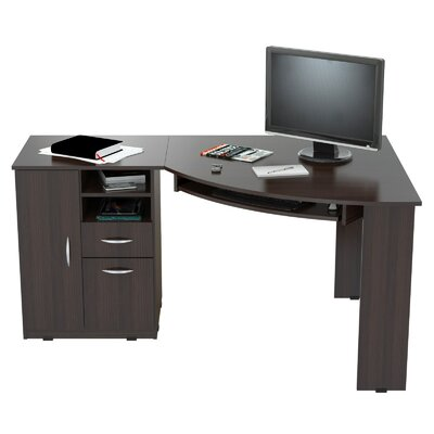 inval computer desk with shelf reviews wayfair. Black Bedroom Furniture Sets. Home Design Ideas