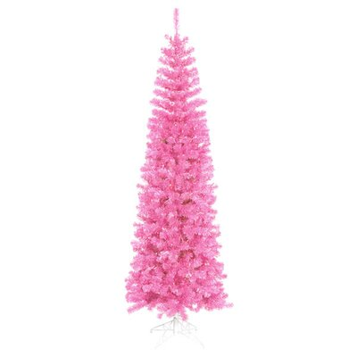 6.5' Sparkling Pink Pencil Artificial Christmas Tree with Pink Lights by Vickerman