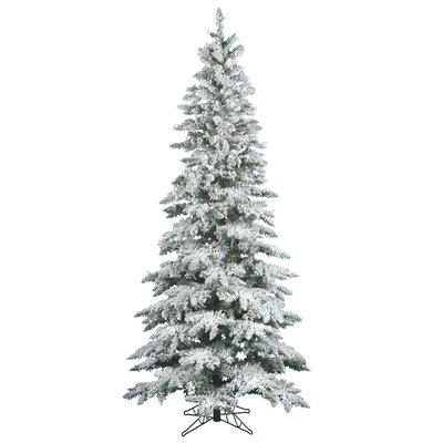 Vickerman Co. Flocked Utica Fir 7.5' White Artificial Christmas Tree with 400 Clear Lights with Stand