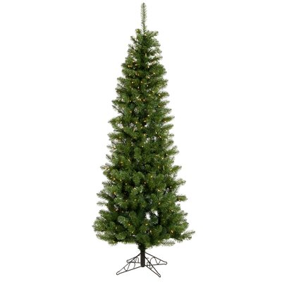 Vickerman Co. Salem Pencil Pine 8.5' Green Artificial Christmas Tree with 450 Clear Lights with Stand