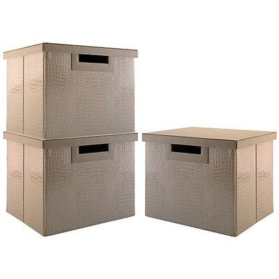 Kathy Ireland Office by Bush NEW YORK SKYLINE large file bin collection (3 bins) in Patent Leather Croc Beige