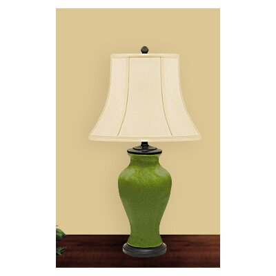 """JB Hirsch Home Decor Crackled 26"""" H Table Lamp with Bell Shade"""