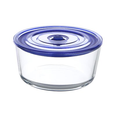 GoGreen Glasslock Premier 56 oz. Round Oven Safe Glass Food Storage Container with Vacuum Seal ...