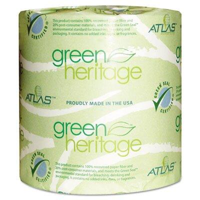 Atlas Paper Mills Green Heritage 2-Ply Toilet Paper - 500 Sheets per Roll / 96 Rolls per Carton