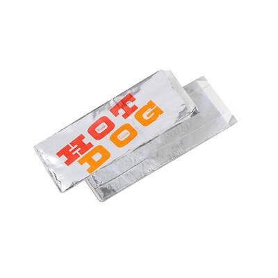 "BAGCRAFT PAPERCON® 8.5"" x 1.5"" x 3.5"" Paper-Lined Foil Hot Dog Bags in Silver"