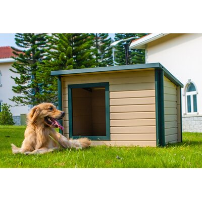 The New Age Pet ecoChoice Rustic Lodge Style Dog House is spacious enough to let your dog stretch and sprawl around.