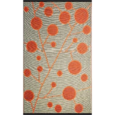 Cotton Ball Reversible Design Orange/Black Outdoor Area Rug by b.b.begonia