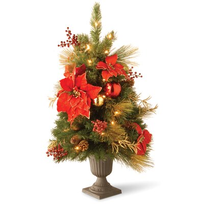 National Tree Co. 3' Green Pine Artificial Christmas Tree with 35 Pre-Lit Clear Lights with Urn Base