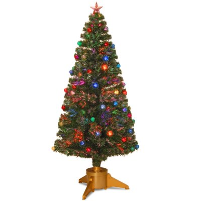 Fiber Optic 6' Green Firework Artificial Christmas Tree with Halogen Multi Light and Stand by ...