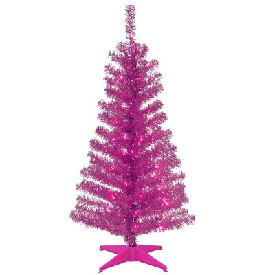 Tinsel Trees 4' Pink Artificial Christmas Tree with Plastic Stand by National Tree Co.