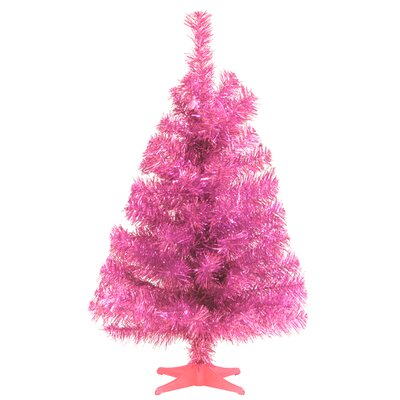 Tinsel Trees 2' Pink Tinsel Artificial Christmas Tree with Pink Plastic Stand by National Tree ...
