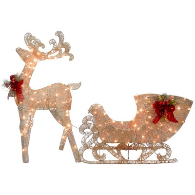 Reindeer and Santa's Sleigh with LED Lights Christmas Decoration by National Tree Co.