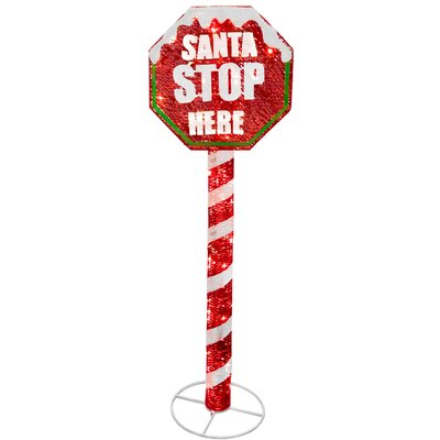 Stop Sign with LED Lights Christmas Decoration by National Tree Co.