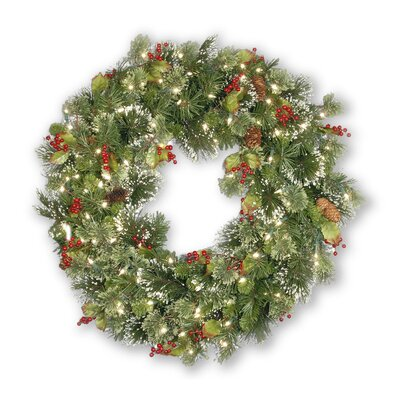 Indoor Outdoor Wintry Pine Pre-Lit Wreath Red Berries Pine Cones Snowflakes