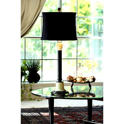 """Lex Lighting Zebra Marble and Chartreuse 33"""" H Table Lamp with Drum Shade"""