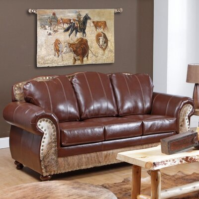 Verona Furniture Saddle Me Up Grain Leather Sofa