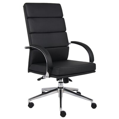 Boss Office Products Caressoft Plus Adjustable High-Back Office Chair in Chrome