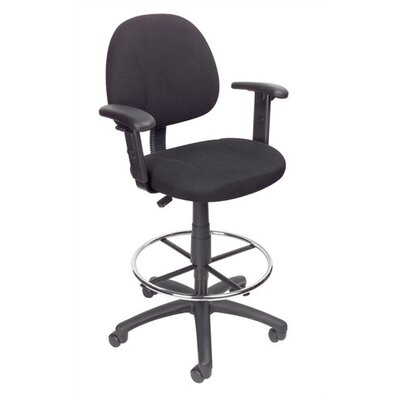 Boss Office Products Heather Mid-Back Drafting Stool with Foot Rest