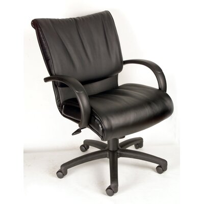 Boss Office Products Modern Mid-Back Leather Conference Chair
