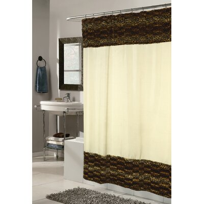 Carnation Home Fashions Animal Instincts Zuri Faux Fur Trimmed Shower Curtain