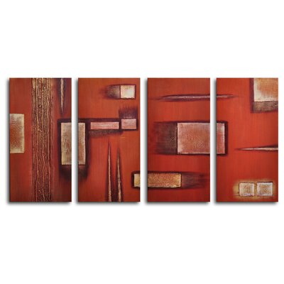 My Art Outlet Earthern Toolbox 4 Piece Painting Print on Wrapped Canvas Set