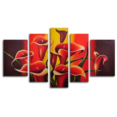 My Art Outlet Mexican Fiesta! 5 Piece Original Painting on Wrapped Canvas Set