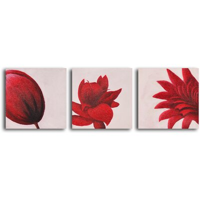 My Art Outlet Maroon Blooms 3 Piece Original Painting on Wrapped Canvas Set
