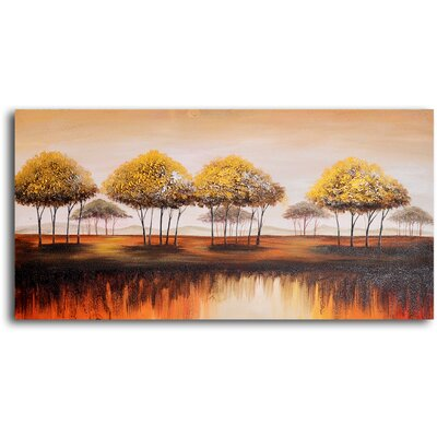 My Art Outlet 'Trees on Melted Earth' Original Painting on Wrapped Canvas
