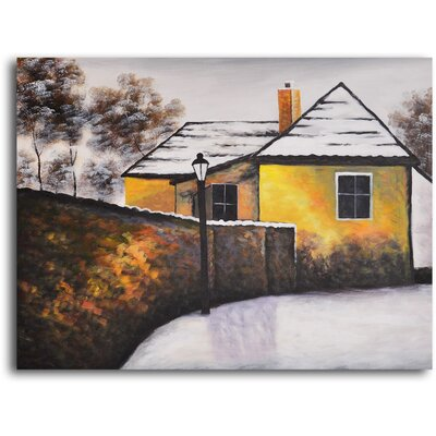 My Art Outlet 'House on the Corner' Original Painting on Wrapped Canvas