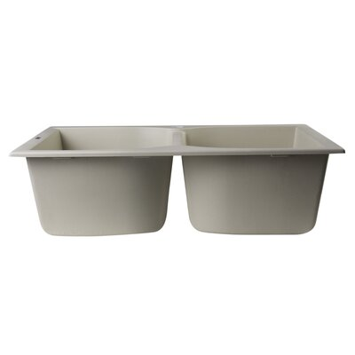 """31.13"""" x 19.75"""" Drop-In Double Bowl Kitchen Sink Product Photo"""