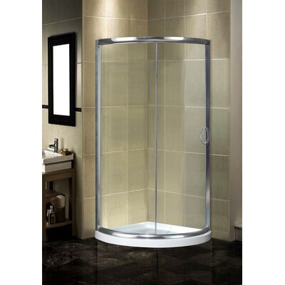 Round Sliding Shower Door Enclosure with Low-Profile Base Product Photo