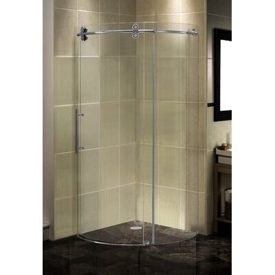 "38.5"" x 38.5"" x 75"" Completely Frameless Round Sliding Shower Door Enclosure Product Photo"