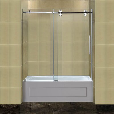 "Completely 60"" x 60"" Sliding Frameless Tub-Height Shower Door Product Photo"