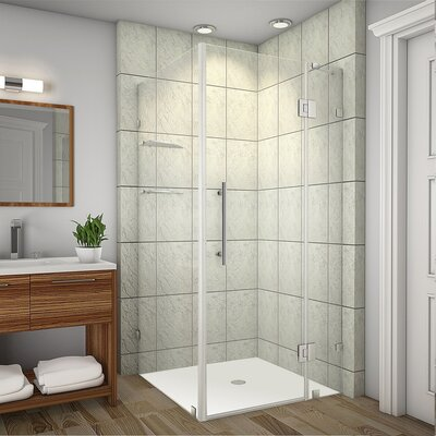 """Avalux GS 33"""" x 34"""" x 72"""" Completely Frameless Hinged Shower Enclosure with Glass Shelves Product Photo"""