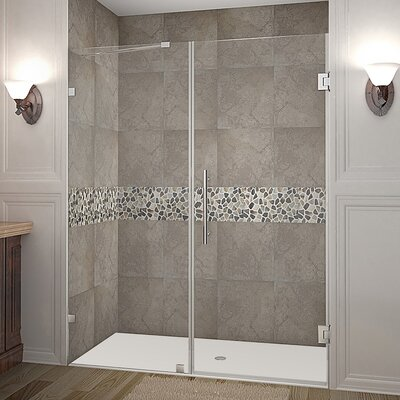 """Nautis 60"""" Frameless Hinged Swing Shower Door Product Photo"""