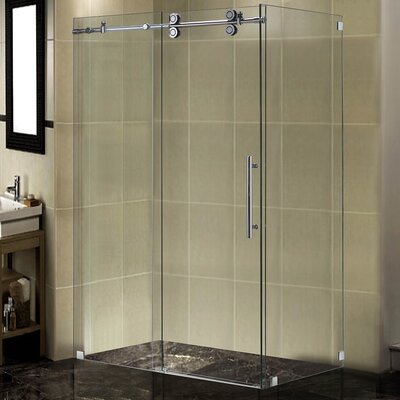"48"" x 34"" x 75"" Completely Frameless Sliding Shower Door Enclosure Product Photo"