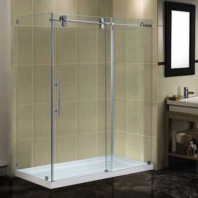 """60"""" x 35"""" x 77.5"""" Completely Frameless Sliding Shower Door Enclosure with Low-Profile Base Product Photo"""