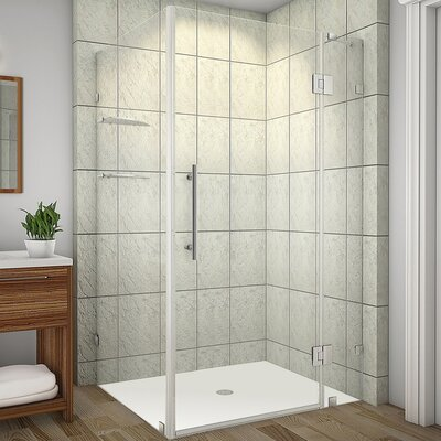 "Avalux GS 39"" x 38"" x 72"" Completely Frameless Hinged Shower Enclosure with Glass Shelves Product Photo"