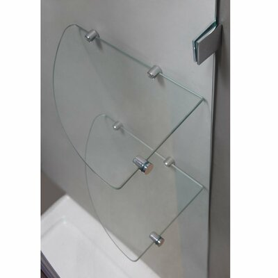 "Avalux GS 42"" x 36"" x 72"" Completely Frameless Hinged Shower Enclosure with Glass Shelves Product Photo"