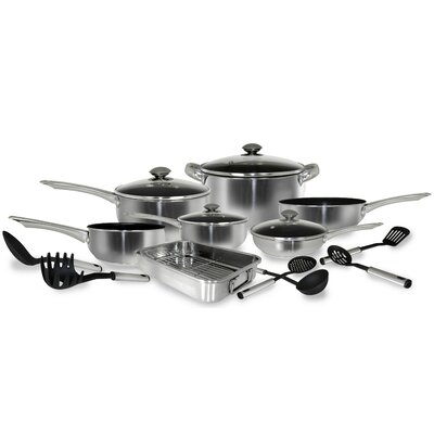 17-Piece Stainless Steel Belly Shape Cookware set by Cook Pro