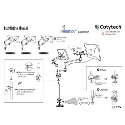 Cotytech 2 Screen Monitor Spring Arm Quick Connect Desk Mount