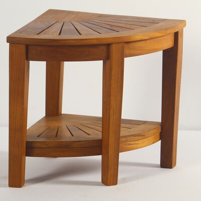 Aqua Teak Spa Teak Corner Shower Stool With Shelf