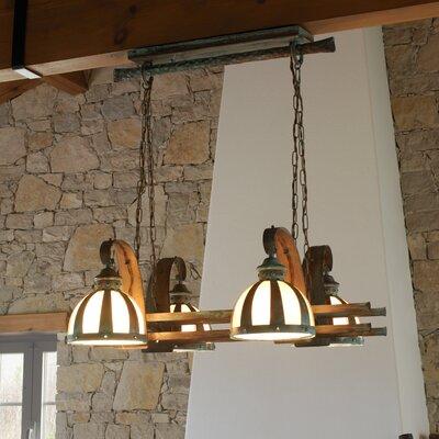 Rustik Armada Four Light Chandelier by Lustrarte Lighting