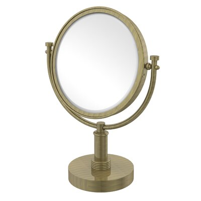 Vanity Top Make-Up 2X Magnification Mirror with Groovy Detail by Allied Brass