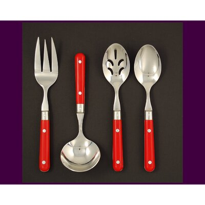 Ginkgo Stainless Steel LePrix 4 Piece Hostess Set in Red