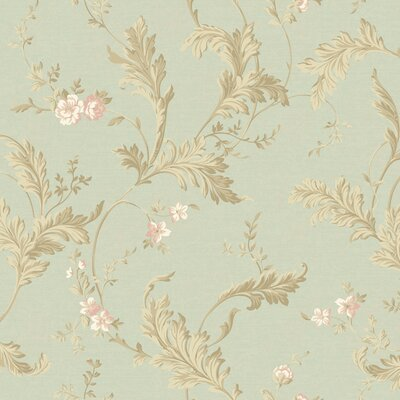 """York Wallcoverings Heritage Home Delicate Acanthus 27' x 27"""" Floral Botanical Distressed Wallpaper"""