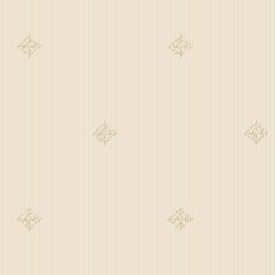 """York Wallcoverings Royal Cottage Architectural Diamond Embossed 27' x 27"""" Stripe Distressed Wallpaper"""