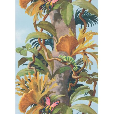 "York Wallcoverings York Kids IV 9' x 1.5"" Jungle Tree Trunk Wildlife Border Wallpaper"