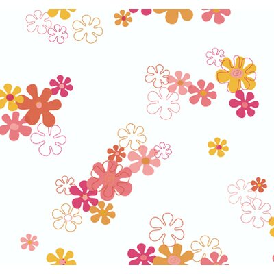 """York Wallcoverings York Kids IV 27' x 27"""" Flower Power Wallpaper"""